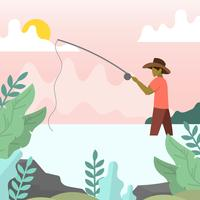 Flat Modern fly fisherman with minimalist background vector illustration