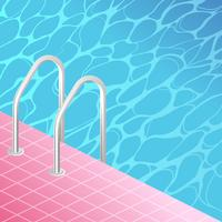 Vintage Swimming Pool Stair Vector