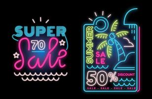 Summer Big Sale on Neon Lamp Banner Sign Vector