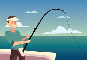 Hombre pescando en el mar