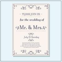 Schöne Hochzeit Einladung Vektor