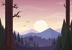 Vector Sunset Landscape Illustration