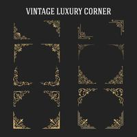 Set av Vintage Luxury Corner Design vektor