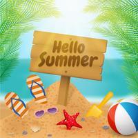 Hello summer wooden signboard on the beach vector