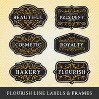 Set of flourish calligraphy frames and labels design vector