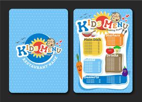 Kids menu design with vegetable for restaurant