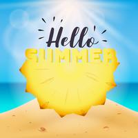 Hello summer typography on carved pineapple vector