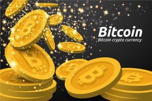 Fondo dorato di simboli di Bitcoin