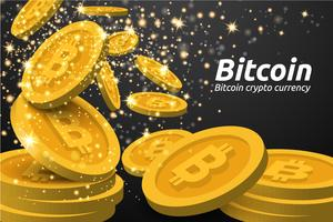 Golden Bitcoin symboler bakgrund