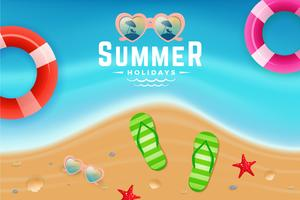 Sand and sea water top view scene for summer holiday background vector