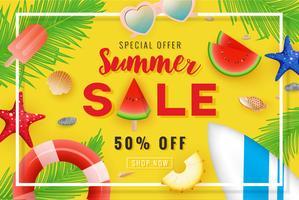 Venda de verão banner design de fundo com decoração de verão