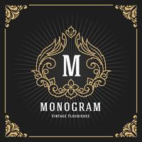 Vintage Luxury Monogram Banner Template Design vector