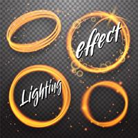 Set of circle and eclipse shining light effects vector