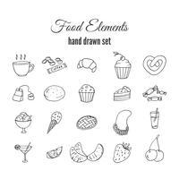 Ensemble de pâtisserie sucrée dessiné à la main. Croquis d'éléments de vecteur de boulangerie.