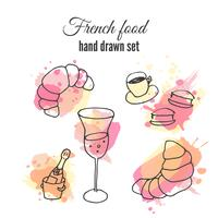 French food illustrations. Vector pastry and coffee designs. French champange illustration.