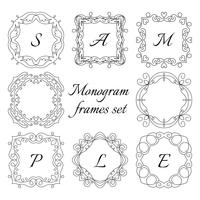 8 quadros de monograma. Conjunto de estilo retro. Ornamentos de mão desenhada.