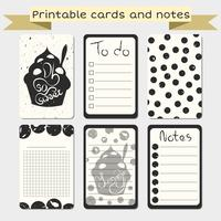 Printable journaling cards. Notes designs. vector
