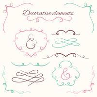 Conjunto de divisores de mão desenhada. Conjunto de bordas decorativas. Molduras decorativas ornamentais