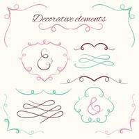 Hand drawn dividers set. Decorative borders set. Ornamental decorative frames vector