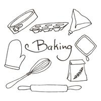 Dibujado a mano herramientas para hornear establece. Panadería elementos vectoriales boceto.