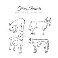 Farming illustration. Vector farm elements. Hand drawn farm animals.