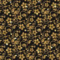 Padrão de Damasco sem costura vector com flores. Design padrão de glitter dourado. Fundo floral de ouro.