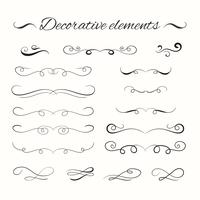 Hand drawn divders set. Ornamental decorative elements. vector
