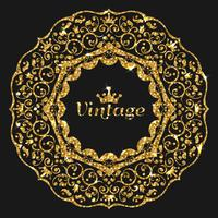 Vektor gorden glitter ram. Vintage guldram illustration. Guld banner med gnistar. Lyxram med glödande krona.