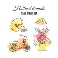 Vector holland decorative elements. Netherlands illustrations. Amsterdam bicycle and windmill.