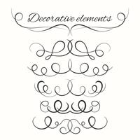 Hand drawn dividers set. Decorative borders set. Ornamental decorative elements
