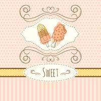 Ilustração de sorvete. Cartão desenhado de vetor mão com salpicos de aquarela. Bolinhas doces e design das listras.