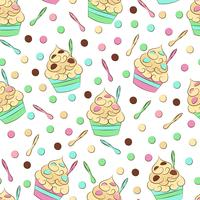 Cute seamless frozen yogurt pattern. Sweet cold desserts vector design.