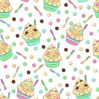 Leuk naadloos bevroren yoghurtpatroon. Zoet koud desserts vectorontwerp.