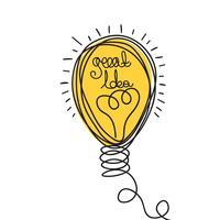 Ilustración de la idea. Diseño ligero de bubl. Icono de negocio de vector