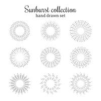 Sunburst vector collection. Retro rays frames. Star burst hand drawn circles. Sunshine decorative elements.