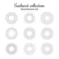 Raccolta vettoriale Sunburst. Cornici a raggi retrò. Stelle scoppiano cerchi disegnati a mano. Elementi decorativi del sole.