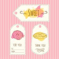 Tags met donut illustratie. Vector hand getrokken etiketten instellen aquarel spatten. Zoet gebak