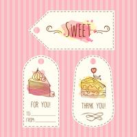 Tags with cake illustration. Vector hand drawn labes set  watercolor splashes. .