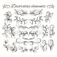 Conjunto de divisores de mão desenhada. Elementos decorativos ornamentais. Conjunto floral.