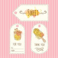 Etiquetas con ilustración de helado. Vector dibujado a mano conjunto de etiquetas acuarela salpica.