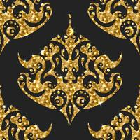 Golden gritter seamless pattern. Vector background with damask ortaments.