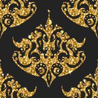 Gyllene gritter sömlösa mönster. Vektor bakgrund med damask ortament.