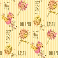 Seamless pattern. Vector candy illustration. Set of hand drawn lollipops with colorful splashes. Cake pop with cream design.