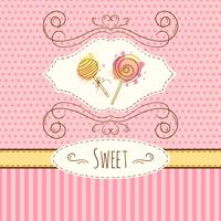 Lollipop illustration. Vector hand drawn card with watercolor splashes. Sweet polka dots and stripes design. Invitation card.