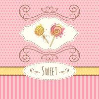Ilustración de piruleta. La tarjeta dibujada mano del vector con la acuarela salpica Dulces lunares y diseño de rayas. Tarjeta de invitación.