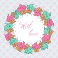 Wreath from cupcakes. With love card.  vector