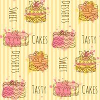 Modelo inconsútil con el ejemplo de la magdalena del vector Set de 4 cupcakes dibujados a mano con toques coloridos.