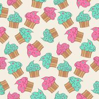 Cupcakes seamless pattern.  vector