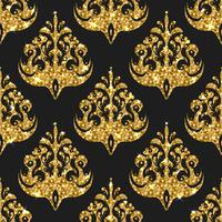 Golden glitter seamless pattern. Vector background with damask o