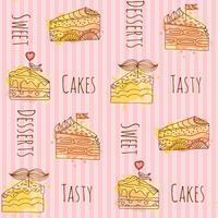 Vector ilustración de pastel. Set de 4 tortas dibujadas a mano con coloridas salpicaduras de acuarela. Patrón sin costuras